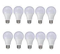 КОМПЛЕКТ 10 шт. Лампа светодиодная 12 Вт 4100К цоколь Е27 тип А60 алюминиевый радиатор AL-12W-E27-W