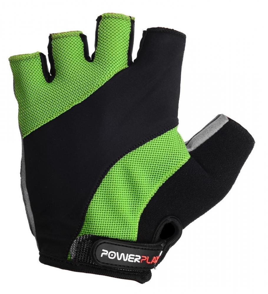 Перчатки для велосипеда велоперчатки PowerPlay 5041 A черно- зеленые M