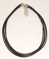 """Шнурок для подвески """"Черный нейлоновый"""" длина 45-50см х 2,5мм Цена за упаковку (в упаковке 5шт)"""