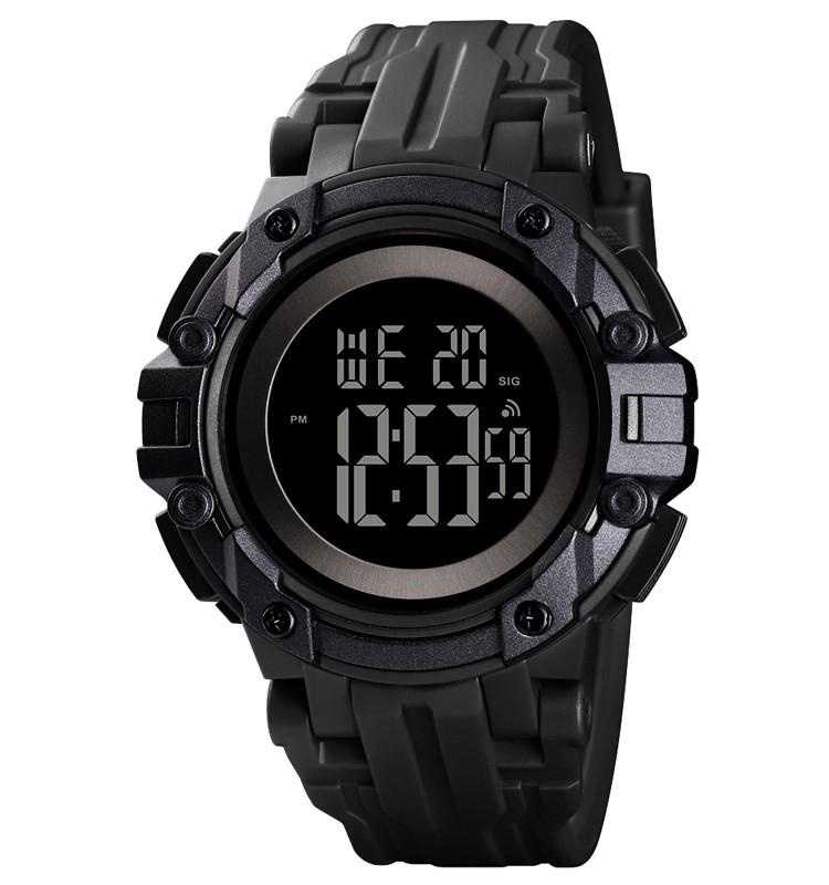Skmei 1545 чорні з чорним циферблатом чоловічі спортивні годинник