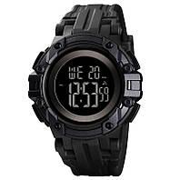 Skmei 1545 чорні з чорним циферблатом чоловічі спортивні годинник, фото 1