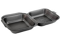 Ланч бокс черный из вспененного полистирола (сендвич) 150*152*60 (250 шт в упаковке)
