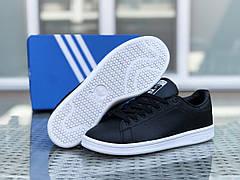 Женские кроссовки черные c белым Adidas Stan Smith 8326