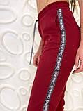 Спортивные штаны женские чёрный, бордо, фото 7