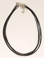 "Шнурок для подвески ""Черный кож.зам"" длина 44-49см х 3мм Цена за упаковку (в упаковке 5шт)"