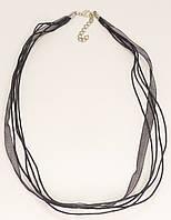 """Шнурок для подвески """"Четыре нейлоновых шнурка с черной лентой"""" длина 45-50см Цена за упаковку (в упаковке 5шт)"""