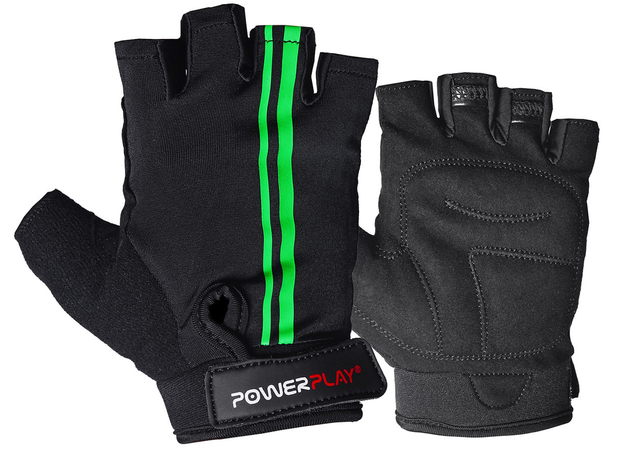 Велорукавички PowerPlay 5031 Чорно-Зелені L
