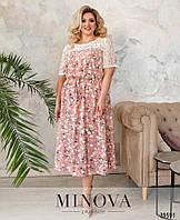 Женское нарядно-повседневное платье большого размера в цветочный принт размеры 50-64