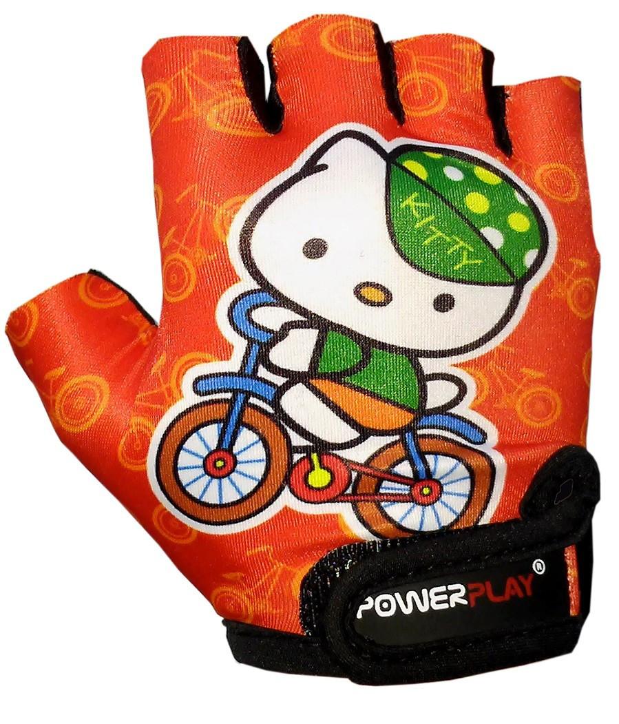 Велоперчатки дитячі рукавички для велосипеда PowerPlay 5473 Kitty помаранчеві 4XS