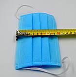 Захисна маска для обличчя упаковка 10шт. одноразова 3-х шарова з матеріалу спанбонд колір - синій, фото 3