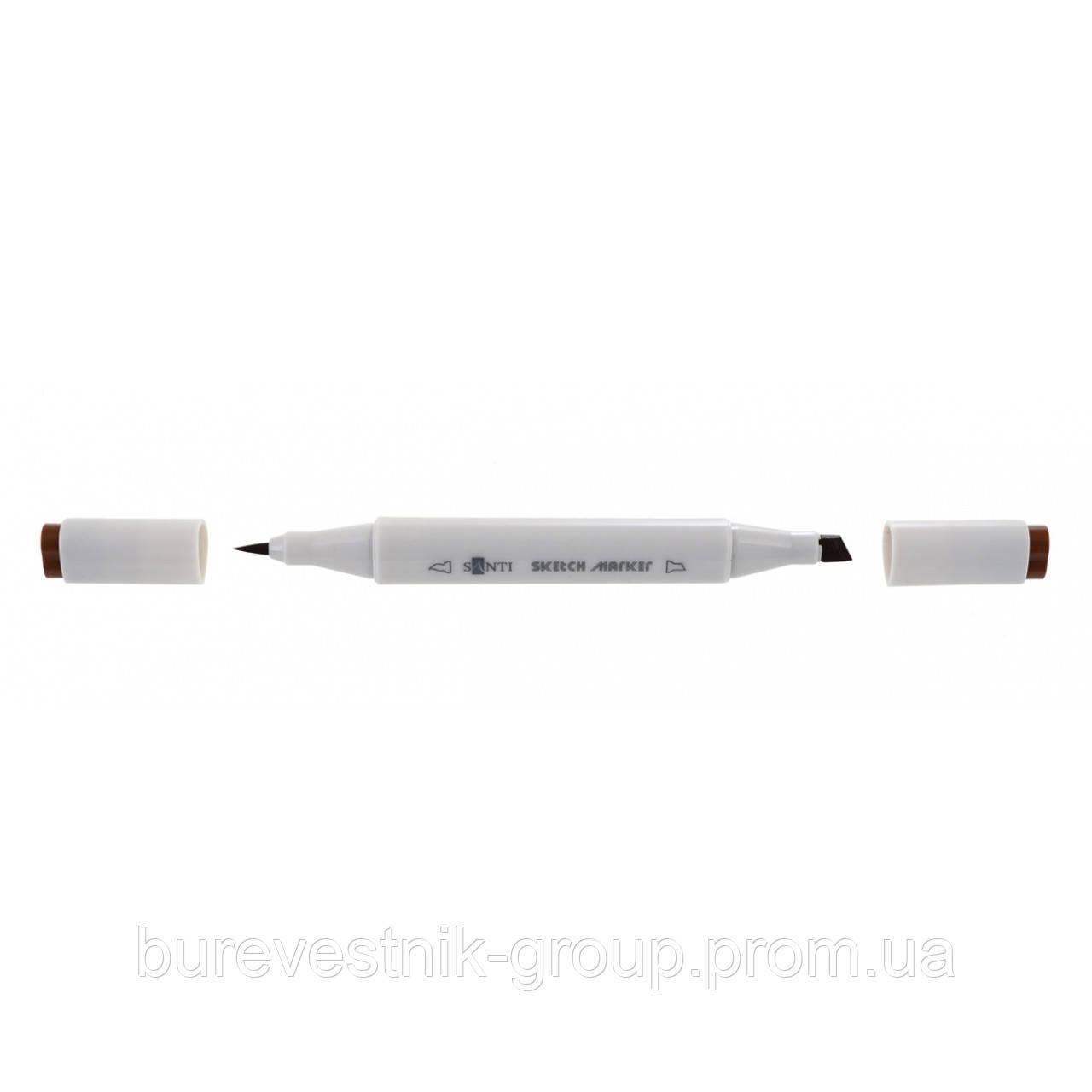 """Художественный акварельный двухсторонний скетч - маркер  (Sketch Marker) """" Santi """" SM-02, кофейный"""