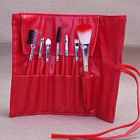 Набор кисточек  для макияжа из 7 шт  с чехлом цвет красный