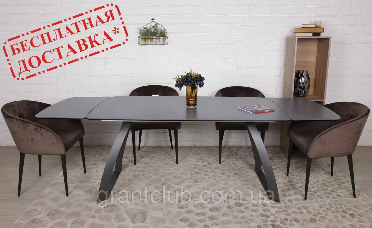 Раскладной обеденный стол LONDON керамика мокрый асфальт Nicolas (бесплатная адресная доставка)