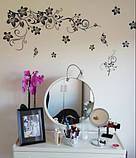 """Крупный набор интерьерных наклеек  """"Цветочный каламбур"""" (черный цвет), фото 2"""
