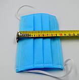 Захисна маска для обличчя упаковка 100шт. одноразова 3-х шарова з матеріалу спанбонд колір - синій, фото 3