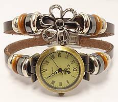 """Часы женские """"Двойной кожаный ремешок с декором колечки и ромашка"""" длина 20см"""