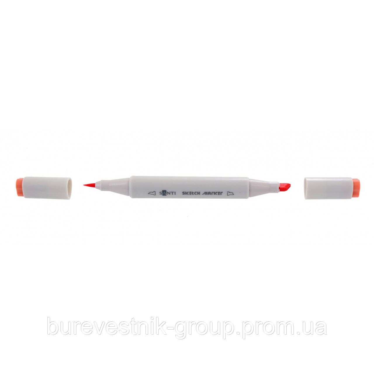 """Художественный акварельный двухсторонний скетч - маркер  (Sketch Marker) """" Santi """" SM-18, кораловый"""