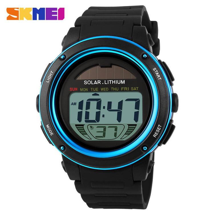 Skmei 1096 синие мужские спортивные часы с солнечной батареей