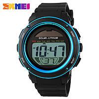Skmei 1096 синие мужские спортивные часы с солнечной батареей, фото 1