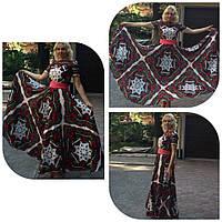 Платье макси из платка с коротким рукавом