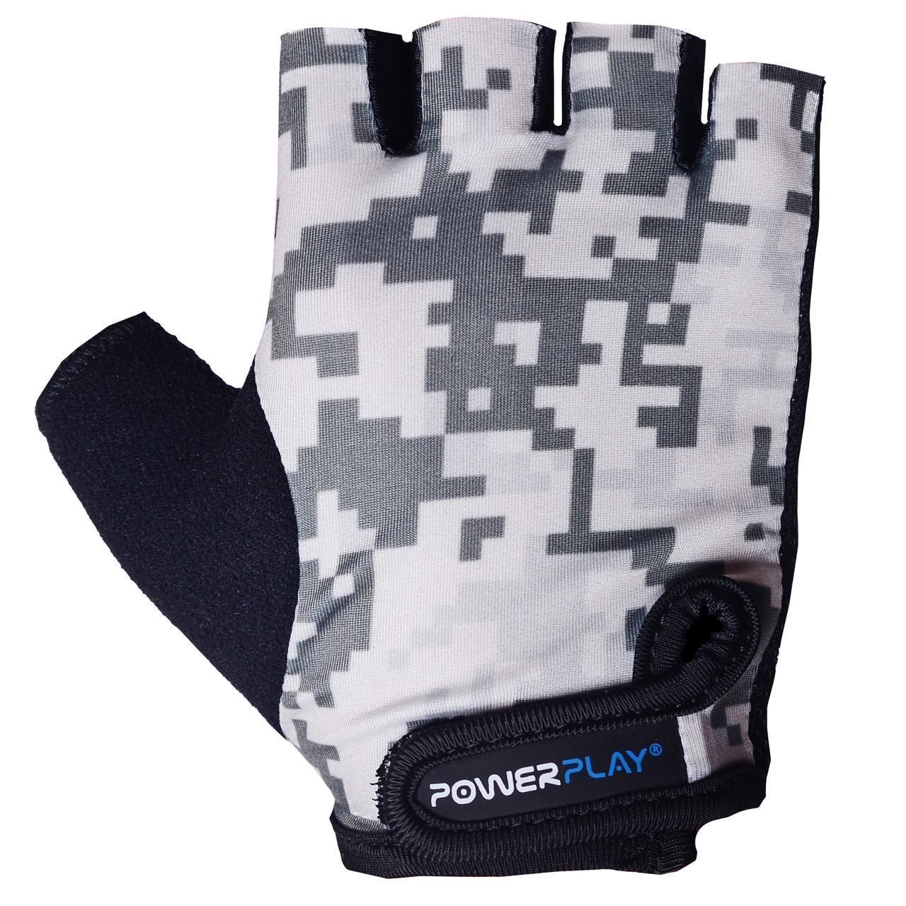 Детские перчатки для велосипеда PowerPlay 5454 Камуфляж серые XS