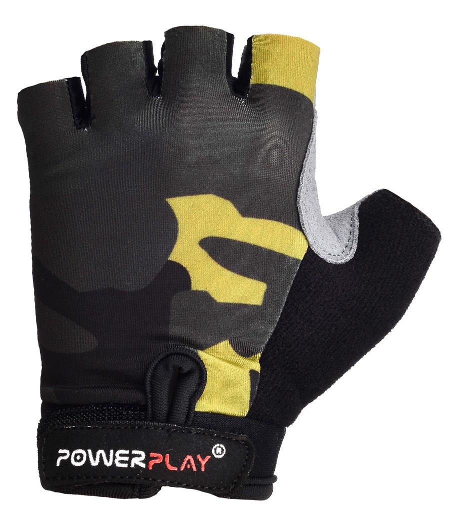 Дитячі рукавички для велосипеда PowerPlay 5454 Камуфляж чорні 2XS