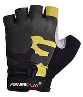 Детские перчатки для велосипеда PowerPlay 5454 Камуфляж черные 2XS