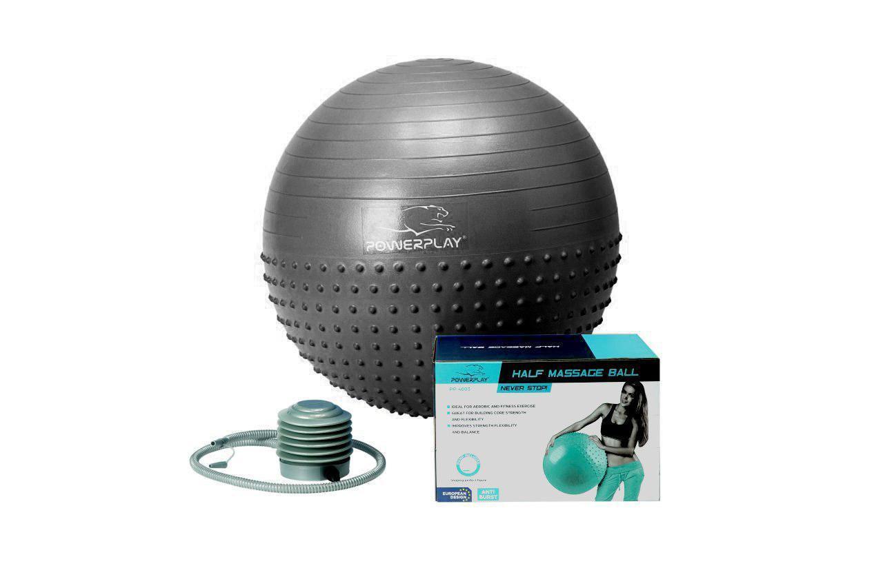 М'яч для фітнесу 75 см фітбол полумассажный сірий PowerPlay 4003 +насос