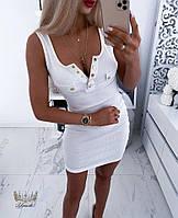 Жіноча коротке плаття в рубчик з декольте на гудзиках