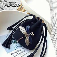 Необычные женские сумки мешок торба кисет  Стрекоза цвет черный оливковый