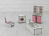 Мебель для кукольного домика Барби NestWood Ванная Розовая (kmb001)