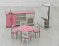 Мебель для кукольного домика Барби NestWood Кухня Розовая (kmb004)