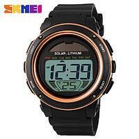 Skmei 1096 золотые мужские спортивные часы с солнечной батареей, фото 1