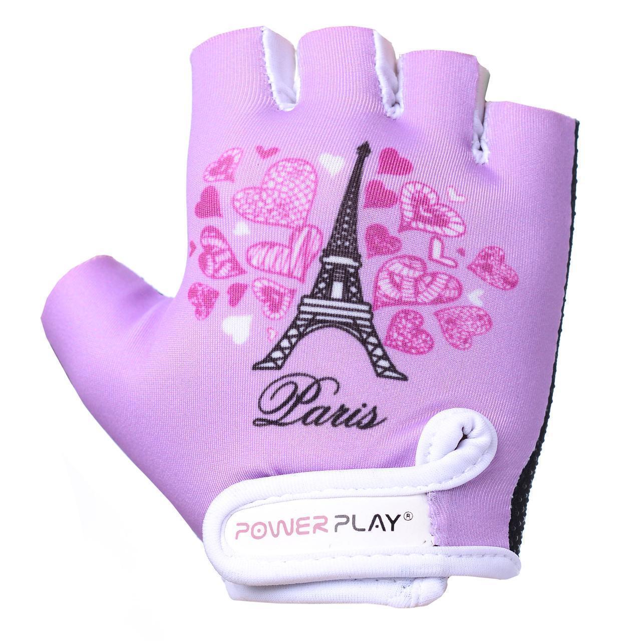 Дитячі рукавички для велосипеда для дівчинки PowerPlay 001 Париж бузкові 2XS