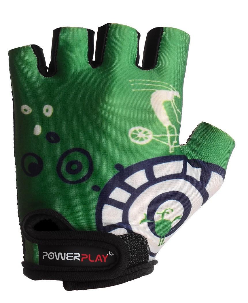 Детские перчатки для велосипеда  PowerPlay 001 A зеленые 3XS