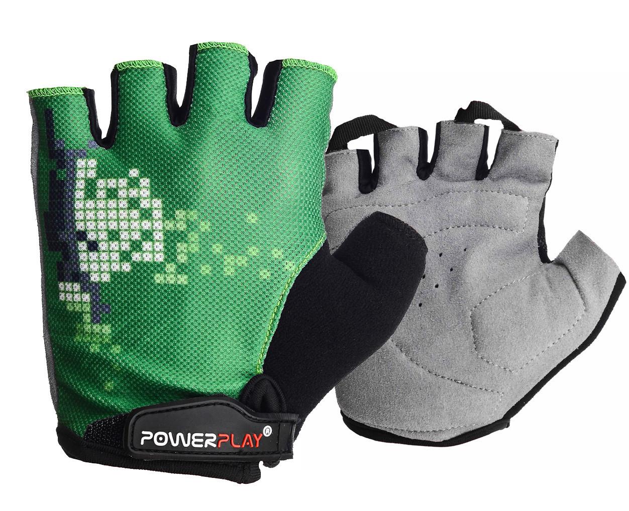Велорукавички PowerPlay 002 C Зелені XS