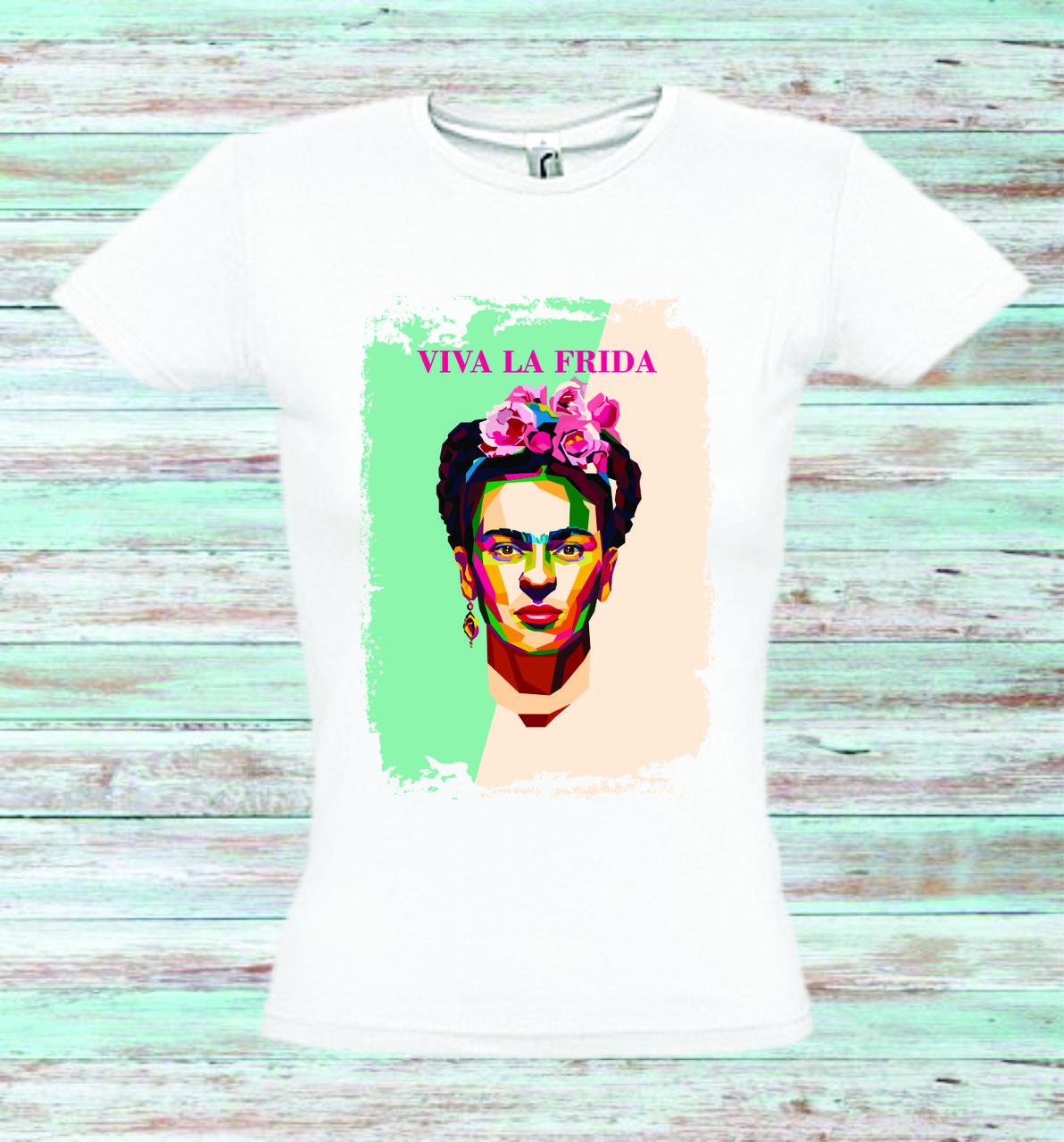 Футболка женская с печатью Viva La Frida (Фрида)