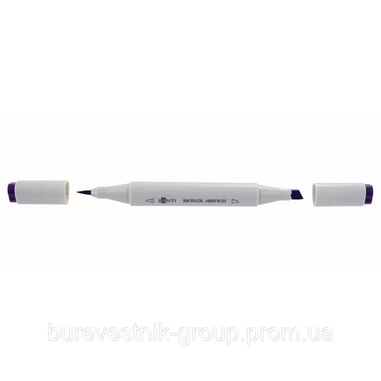 """Художественный акварельный двухсторонний скетч - маркер  (Sketch Marker) """" Santi """" SM-09, фиолетовый"""