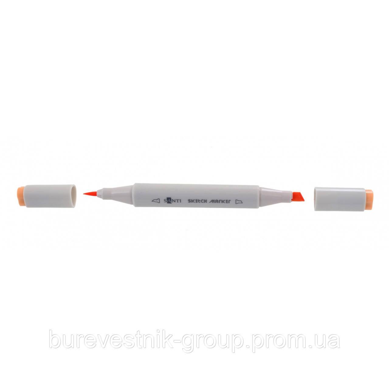 """Художественный акварельный двухсторонний скетч - маркер  (Sketch Marker) """" Santi """" SM-16, телесный"""