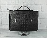 Кожаный портфель, сумка для документов Prada 2417 B 259-1 черная кроко