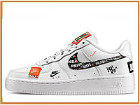 Женские кроссовки Nike Air Force 1 Low Just Do It Pack White Black (найк аир форс джаст ду ит, белые)