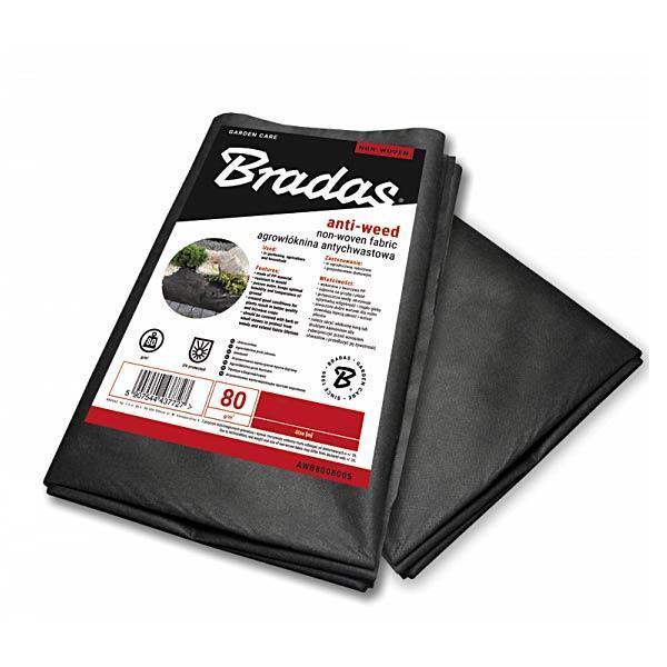 Агроволокно черное, 80 г/м², 0,8 х 10 м, AWB8008010 BRADAS POLAND