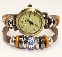 """Часы женские """"Двойной кожаный ремешок с декором колечки и керамической бусиной"""" длина 20см"""