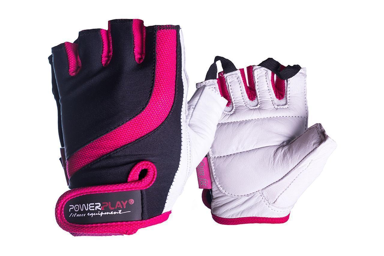 Рукавички для фітнесу PowerPlay 2311 жіночі Чорно-Розові XS