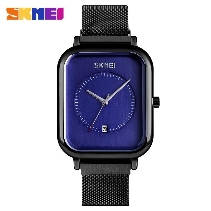 Skmei 9207 черные с синим  мужские классические наручные часы