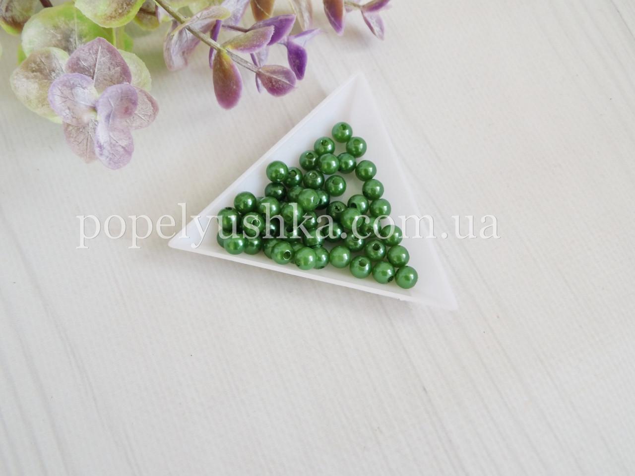Намистини 6 мм Зелені акрил (50 шт.)