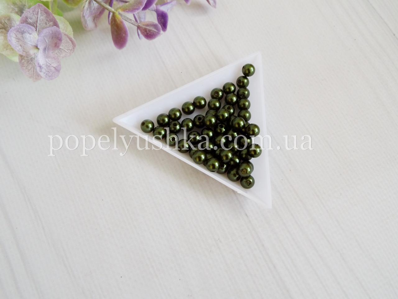 Намистини темно-зелені 6 мм акрил (50 шт.)