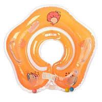 Круг R1-2 для купания детей, 40 см,на застежке,ручки 2 шт, 4 цв,в кульке 16-14-2 см