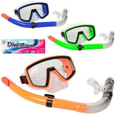 Набор для плавания 6512-05 маска 16,5-9 см, трубка 37 см, 3 цвета, в кульке 19-45-8 см, фото 2