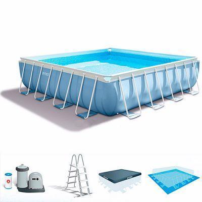 Бассейн каркасный 26764 427-427-107 см, 16650 л, фильтр-насос, лестница,подстилка,тент,в кор-ке